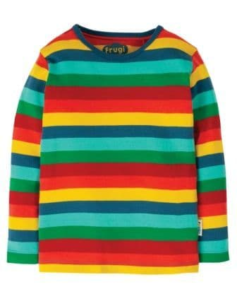 Frugi Favourite Long Sleeve Tee Steely Blue Multi stripe