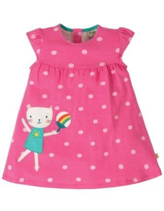 Frugi Flamingo Spot Cat Little Lola Dress