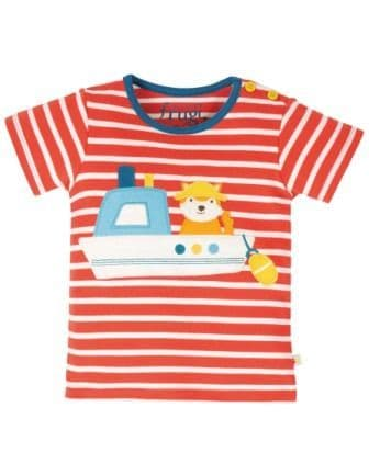 Frugi Koi Red Stripe Boat Atlantic Top