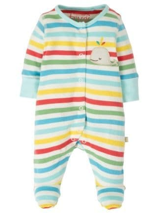 Frugi Little Applique Babygrow Multistripe