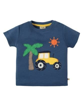 Frugi Little Creature Applique Top Marine Blue Tractor