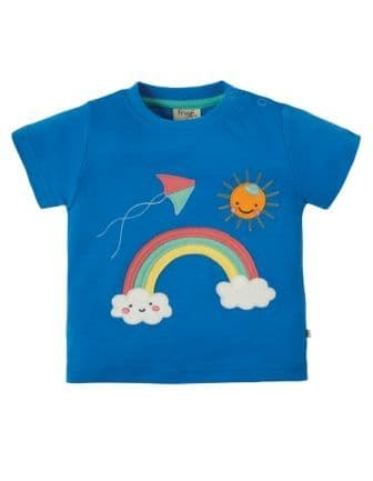 Frugi Little Creature Top Sail Blue Rainbow