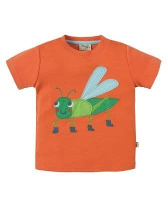 Frugi Little Creature Top Warm Orange Grasshopper