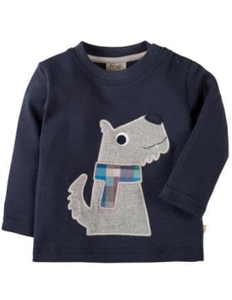 Frugi Little Discovery Applique Top Navy Dog