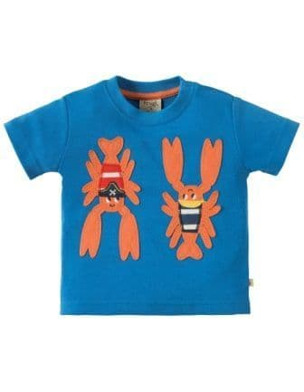 Frugi Little Polkerris Applique T-shirt Lobster