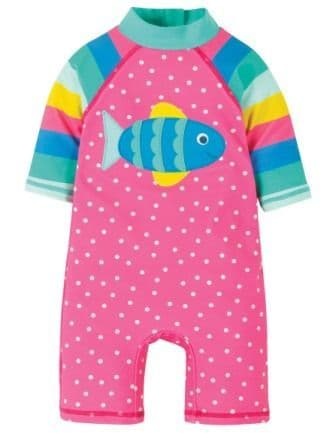 Frugi Little Sun Safe Suit Flamingo Spot Fish