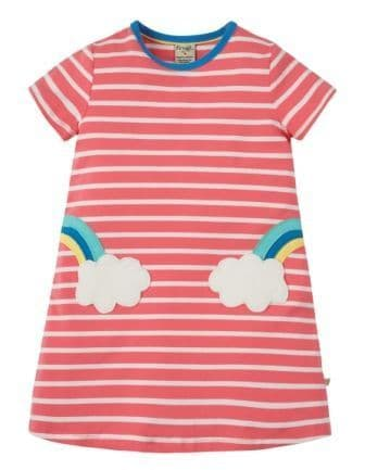 Frugi Paige Pocket Dress Coral Chunky Clouds