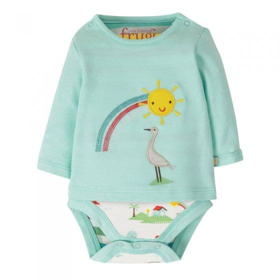 Frugi Poppet 2 in 1 Body Light Aqua Rainbow