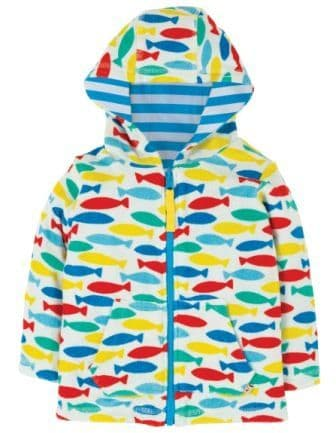 Frugi Rainbow Fish Reversible Towelling Hoody