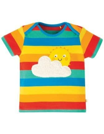 Frugi Rainbow Stripe Sun Bobster Applique Top