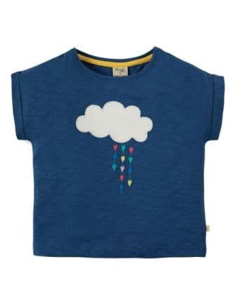 Frugi Sophia Slub T-shirt Marine Blue Cloud