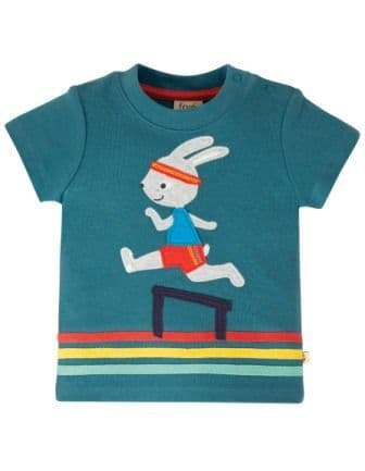 Frugi Steely Blue Bunny Little Creature Top
