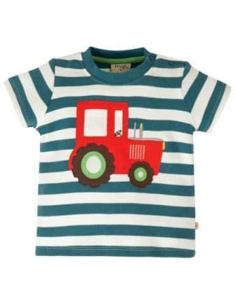 Frugi Tractor Little Wheels Applique Top