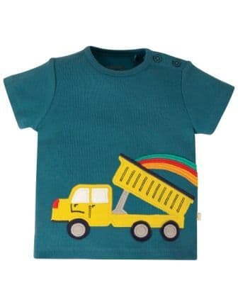 Frugi Truck Scout Applique Top Steely Blue