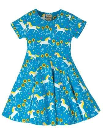 Frugi Unicorn Skates Spring Skater Dress