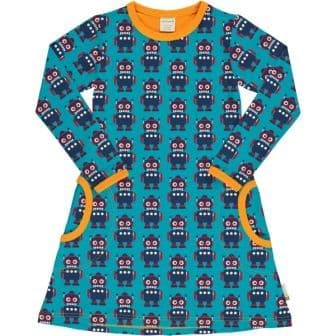 Maxomorra Robots Long Sleeve Dress
