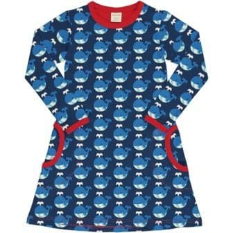 Maxomorra Whale Long Sleeve Dress
