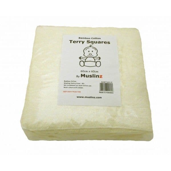 Muslinz Bamboo Cotton Terry Squares 70x70cm - 6 pack