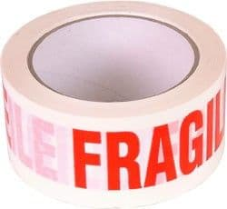 Red on White Fragile Tape - 50mm X 66m