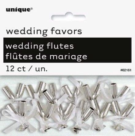 12PK SILVER MINI FLUTED CHAMPAGNE FAVORS