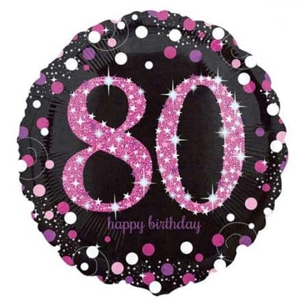80th  foil balloon (pink)