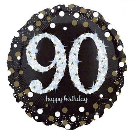 90th  foil balloon (black)