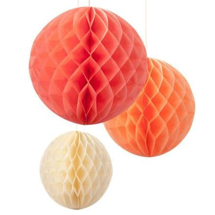 Coral and peach hanging honeycomb balls