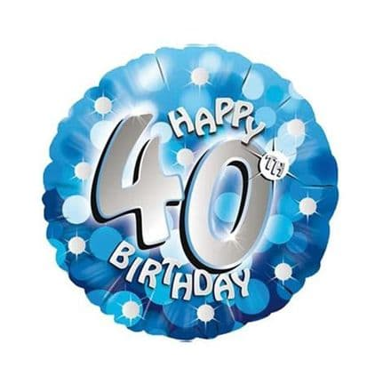Happy 40th foil balloon (blue)