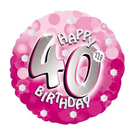 Happy 40th foil balloon (pink)
