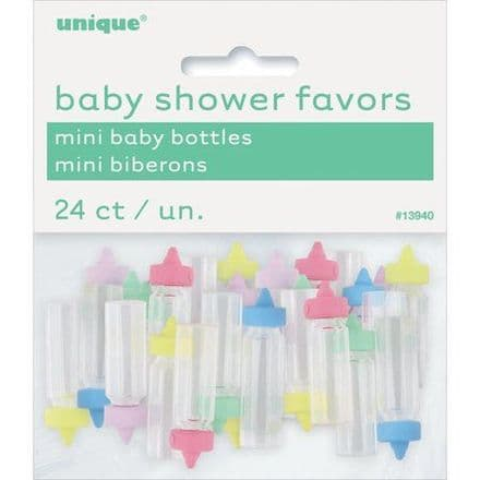 Mini Plastic Baby Bottle Baby Shower Favor Charms, 1 in, Assorted, 24ct