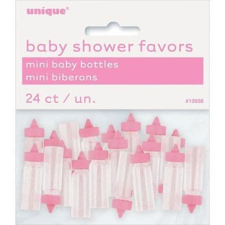 Mini Plastic Baby Bottle Baby Shower Favor Charms, 1 in,pink, 24ct