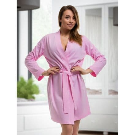 Pink cotton dressing gown
