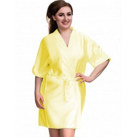 Silky yellow dressing gown