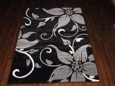 BARGAIN RANGE WOVEN RUGS HAND CARVED APPROX 6X4FT 120X170CM BLACK/GRY GREAT RUGS