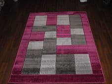 BLOCKS RANGE WOVEN RUGS HAND CARVED APROX 6X4FT 120X170CM PURPLE/GREY GREAT RUGS