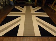 Large Approx 8x5 160x230cm Woven Backed Union Jack Black/Grey/Cream Quality rug