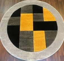 MODERN 140X140CM CIRCLE RUG WOVEN BACK HAND CARVED BLOCKS RANGE SILVER / YELLOW.