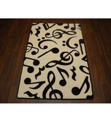 Modern Approx 5x3ft Music Note Mat Great Quality Non Slip White/Black 100x150cm