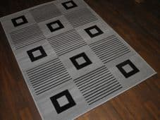 Modern Approx 6x4ft 120x170cm Woven Backed Grey-Black Quality Rugs Square Design