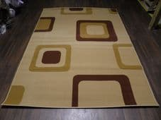 Modern Approx 8x5ft 160cmx230cm Woven Backed Squares Quality Rugs Beiges/Browns