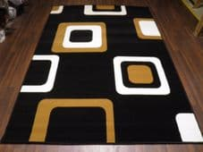 Modern Approx 8x5ft 160cmx230cm Woven Backed Squares Quality Rugs Black/Browns