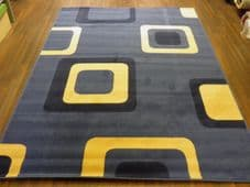 Modern Approx 8x5ft 160cmx230cm Woven Backed Squares Quality Rugs Blue/Beiges