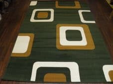 Modern Approx 8x5ft 160cmx230cm Woven Backed Squares Quality Rugs Green/Beiges