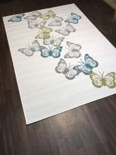 Modern Approx 8x5ft 160x230cm Woven Backed Butterfly Designs Cream/Grey Rugs New