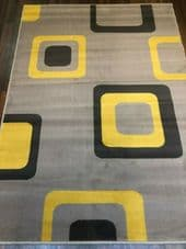 MODERN DESIGN APPROX 6X4 120X170CM WOVEN BACKED TOP QUALITY LIGHT GREY/YELLOW