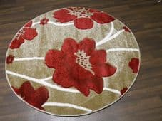 MODERN NEW 120CMX120CM CIRCLE RUG WOVEN BACK HAND CARVED BEIGE/RED POPPY LOVLEY