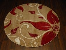 MODERN NEW 120X120CM CIRCLE RUGS WOVEN BACK HAND CARVED BEIGE/RED LILY LOVLEY