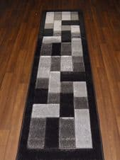 Modern Runners 60x220cm Aprox 8ft Hand Carved Super Quality Blocks Black/Greys