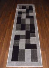Modern Runners 60x220cm Aprox 8ft Hand Carved Super Quality Blocks Silver/Black