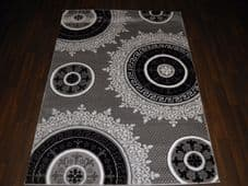 NEW GLITTER RANGE RUG HAND CARVED APROX 6X4FT 120X170CM SILVER/BLACK GREAT RUGS